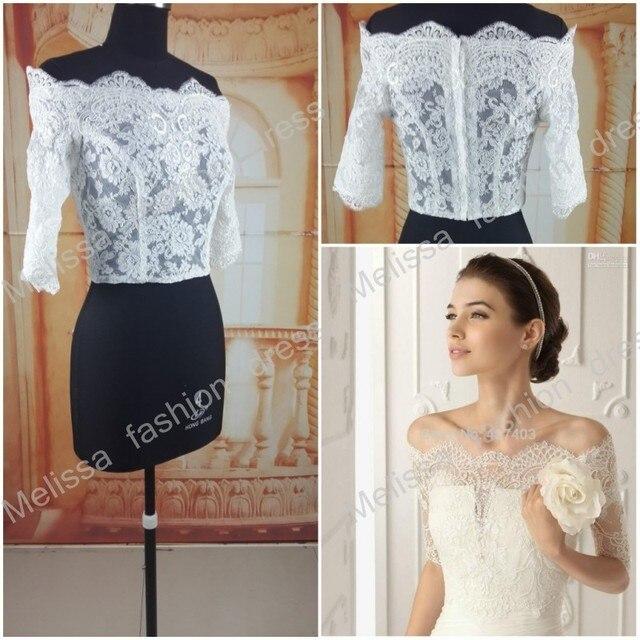 f0fee497eb3a Free Shipping Off-Shoulder Romantic Short Sleeve White Lace Bolero Wedding  Jackets Bridal Wraps