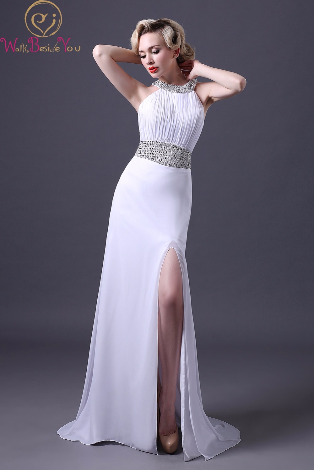 Hermosa Prom Blanco Vestido De Reino Unido Ornamento - Vestido de ...