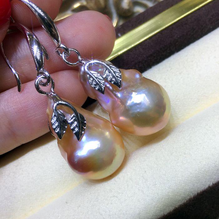 Femmes mot naturel hétéromorphisme irrégulière perle boucles d'oreilles Baroque gros grain perle 925 argent oreille crochet métal monstre couleur mix