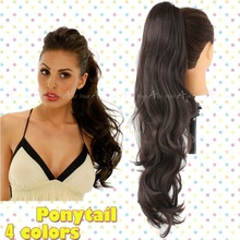 26″ 65cm Synthetic Long Lady Women Curly Wavy Claw Clip Ponytail Pony Tail Hair Extension Body Wave Dark Brown Free Shipping