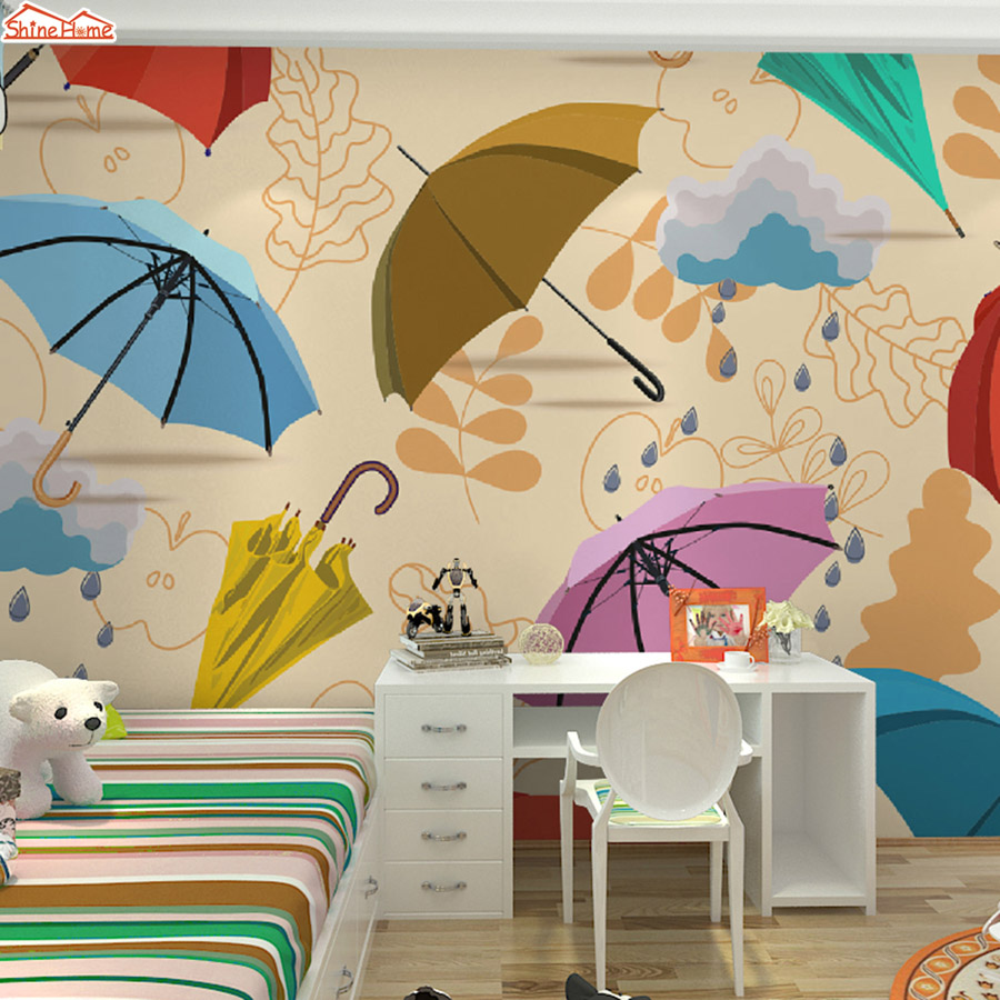 ShineHome-Customize Kids Room Cartoon Umbrella Wallpaper for Wall 3d TV Background Wall Paper Living Room Non-woven Mural Rolls