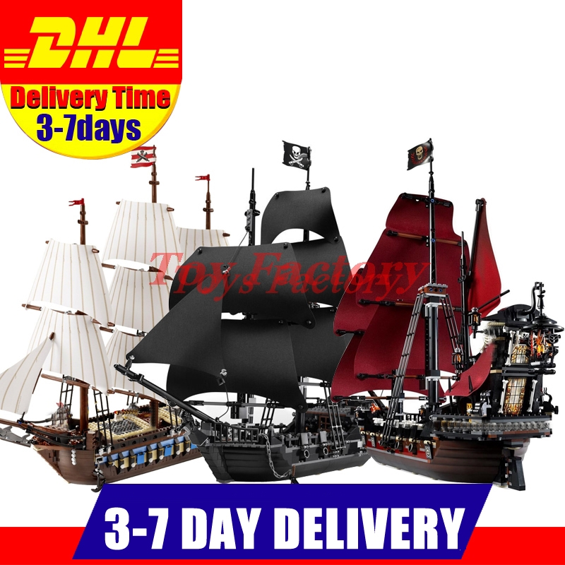 LEPIN 22001  Imperial Warships + 16006 Black Pearl Ship + 16009 Queen Anne's revenge Pirate Ship Toys Clone 10210 4184 4195 new bricks 22001 pirate ship imperial warships model building kits block briks toys gift 1717pcs compatible 10210