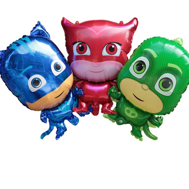 New 3pcs Cartoon foil balloons PJmasks Characters Action Figure Toys Pajamas Party suppl ...