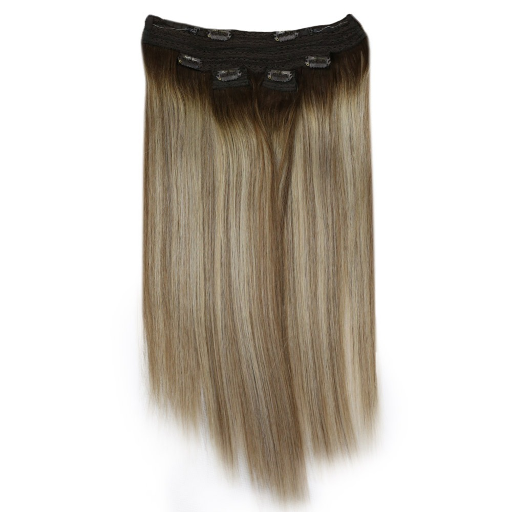 Full Shine Human Hair Weft Bundles Balayage Color #3 Fading To #8 And #22 100% Machine Made Remy Human Hair Sew In Ribbon