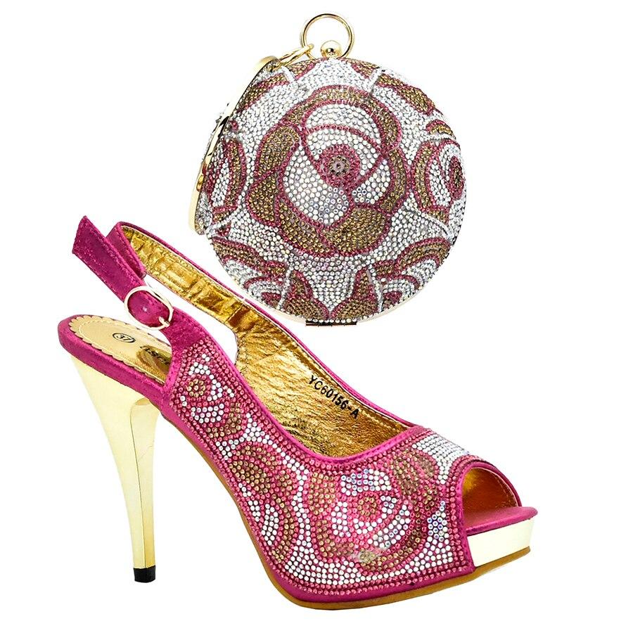 Nueva Bolso Boda Juego Tamaño Nupcial Set Elegante 4 Grande 3 Bombas Cristal Y 2 Vestido Fucsia A Africanos Zapatos 1 Mujeres rrBqPC