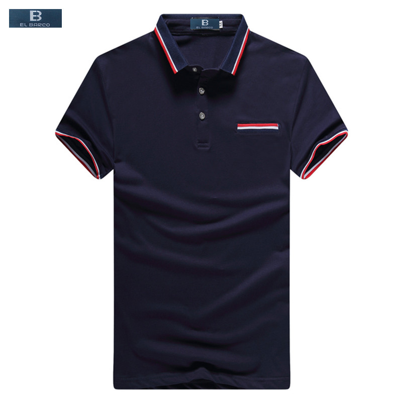 [EL BARCO] Summer Men Cotton Short-Sleeve Casual   Polo   Shirts Soft Breathable Slim Blue White Grey Male Shirts Tops Size M-XXXL