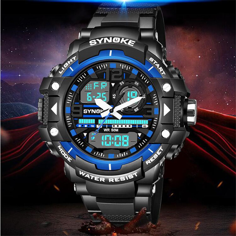 SYNOKE Men uomo orologio Sport Watches Men's Quartz Digital Analog Clock Man Wrist Watch relogio masculino Christmas gift P34 drop shipping gift boys girls students time clock electronic digital lcd wrist sport watch july12