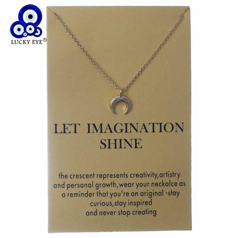 Lucky Eye Moon цепочка с подвеской из сплава звено цепи колье ожерелье для женщин Девушка ювелирные изделия открытка пожелание ожерелье CN137