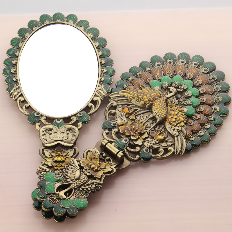 European style small size metal carry mirror with comb Hand Hold Cosmetic Mirror With Handle For Gifts HZJ013