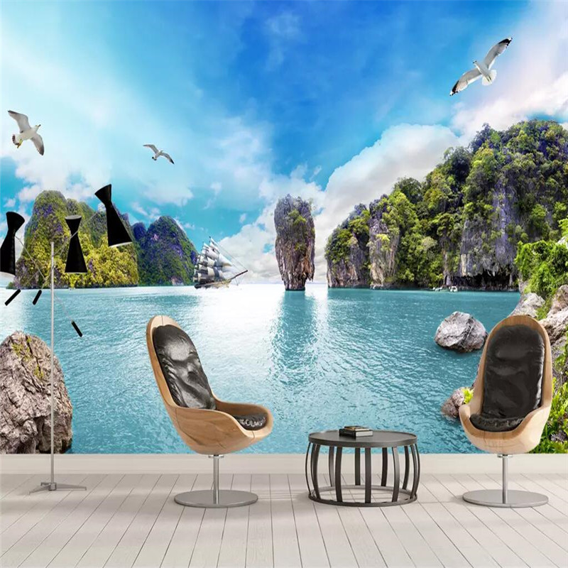 Beautiful sea view 3D TV background wall professional production wallpaper mural custom poster photo
