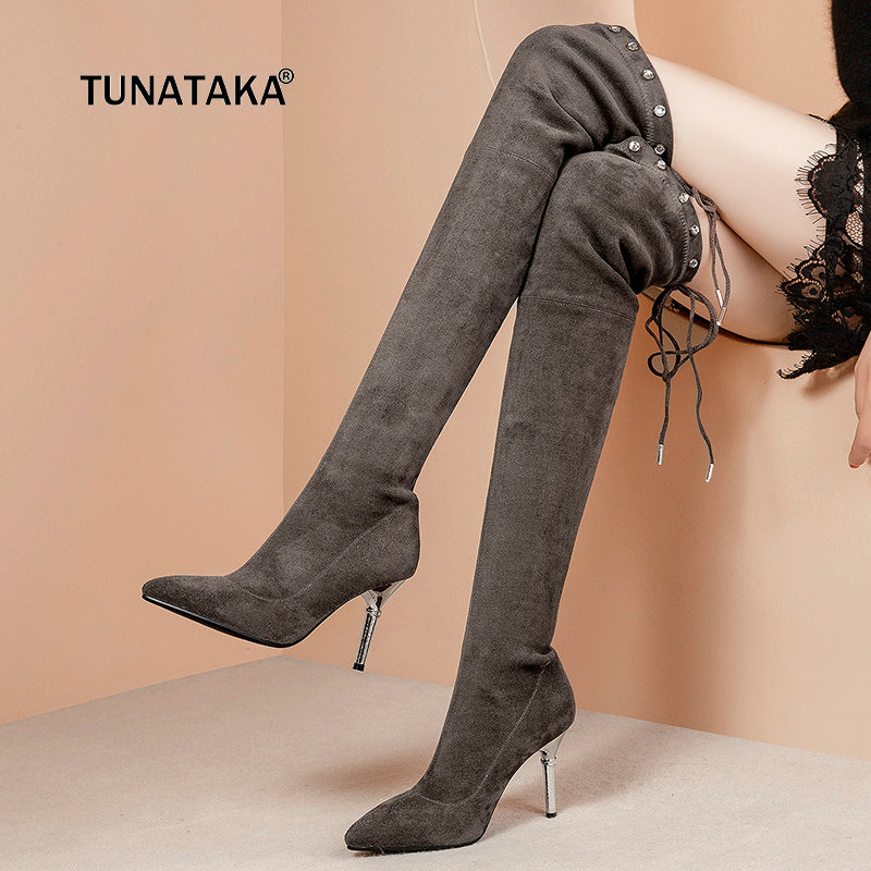 Women Comfort Suede Thin High Heel Lace Up Over the Knee Boots Fashion Pointed Toe Rivet Fall Winter Stretch Thigh Boots Black women suede thin high heel over the knee boots fashion slip on stretch boots female fall winter pointed toe thigh boots black