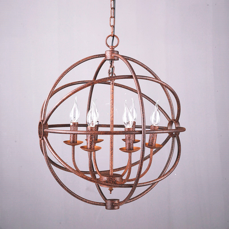 Rh Industrial Lighting Restoration Hardware Vintage Pendant Lamp Foucault Iron Orb Chandelier Rustic Gyro Loft Light 52cm In Lights From