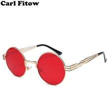 1b65e309374 Vintage Retro Gothic Steampunk Mirror Sunglasses Gold and Black Sun Glasses  Vintage Round Circle Men UV gafas de sol