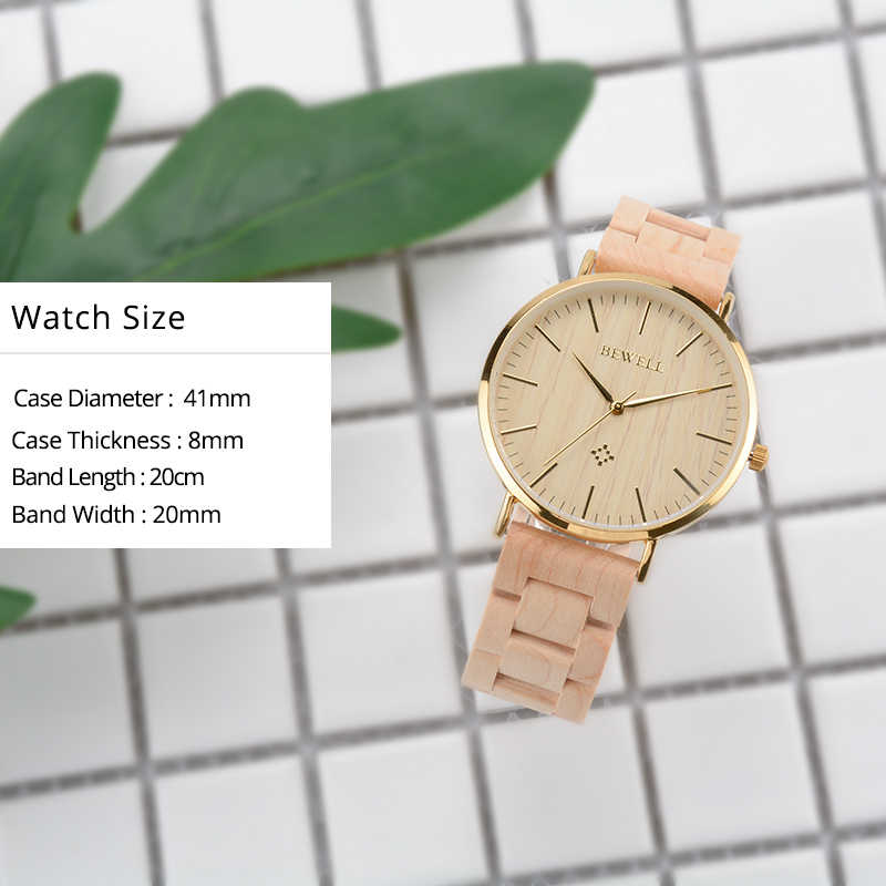 BEWELL Men Waterproof Wood Watches Luxury Watch Brand As Boy Gift For Son Or Dad Clock Male Dress Watch Good Quality Watch 163A
