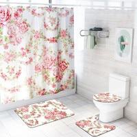 for Living Bed Room 4Pcs Bathroom Non slip Mat Set Lid Toilet Cover Pedestal Mat Bath Shower Curtain Polyester Machine Washable