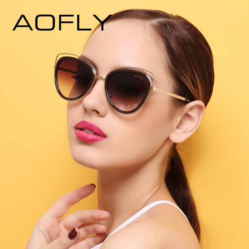 9a766859d9b AOFLY Vintage Cat Eye Sunglasses Women Fashion Summer Style Revo Lens Sun  glasses Cateye Shades Lady Female Gafas UV400 AF7923-in Sunglasses from  Women s ...