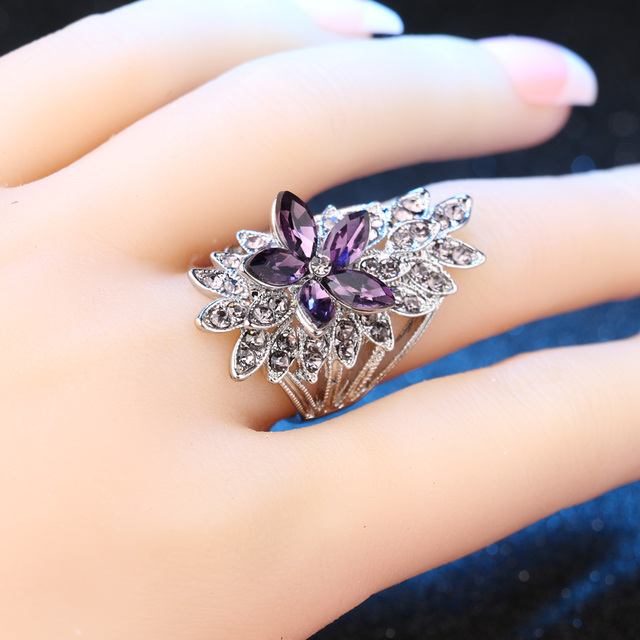 Vintage Silver Plated Ring with Crystal Flower