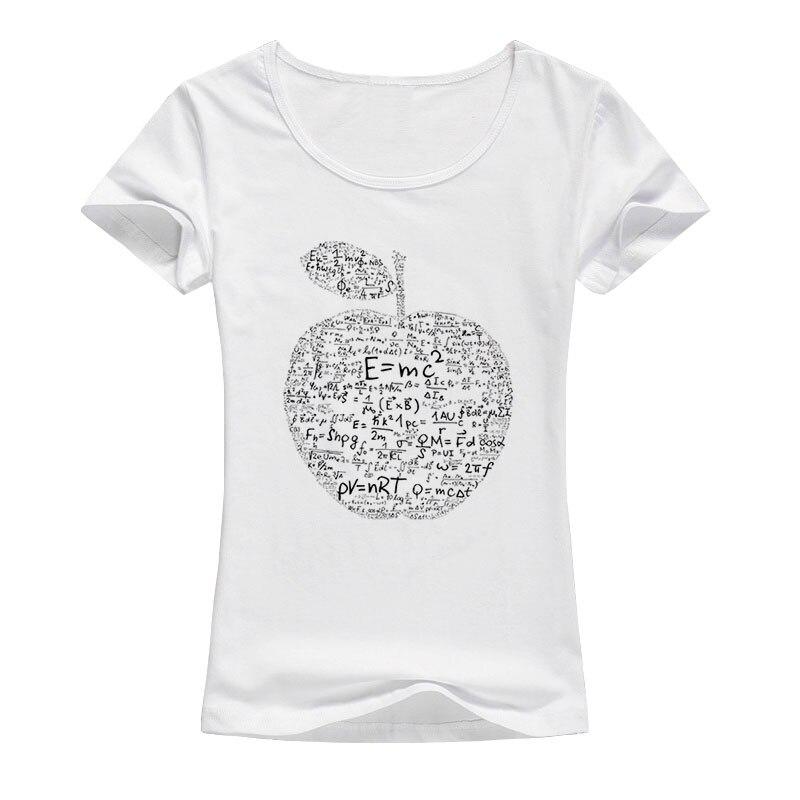 2017 הקיץ אפל נוסחה מתמטית נוסחת משוואת מודפס נשים חולצה נשי כותנה חולצה צמרות טיז מגניב A131