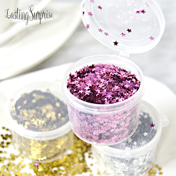 15g/Box 3mm Glitter Acrylic Star Gold Silver Metallic Foil Sequin Throwing Confetti Wedding Party Decoration Clear Ball