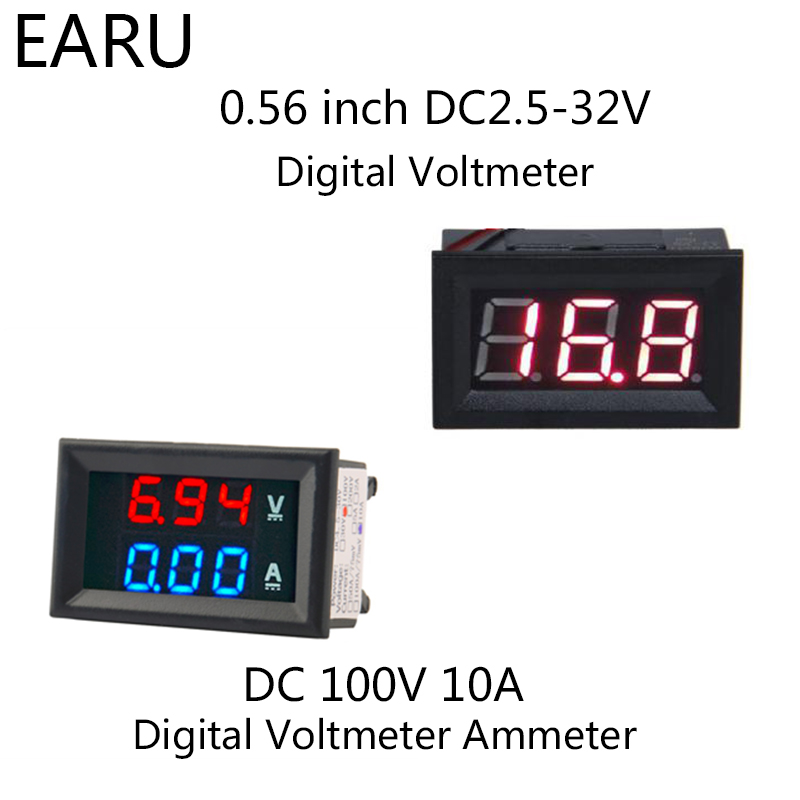 1pc DIY DC100V 10A Voltmeter Ammeter Blue Red Dual Amp Volt Voltage Current Meter Gauge Tester Panel Digital LED Display For Car