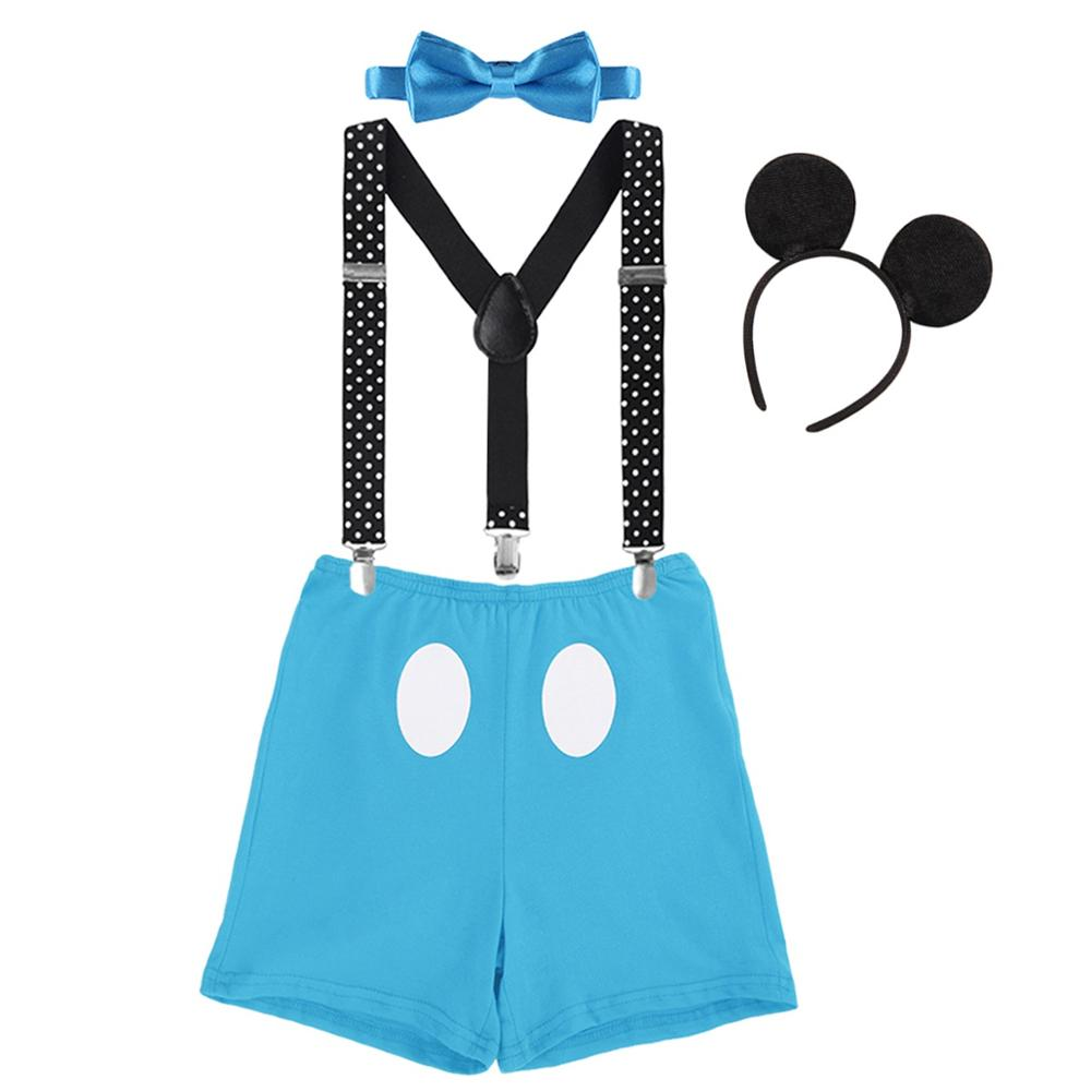 Cute Baby Boy 4pcs Set Clothes for Cake Smash Photo Shoot Baby Birthday Mickey Mouse Photography Props Outfit Baby Girl Clothes