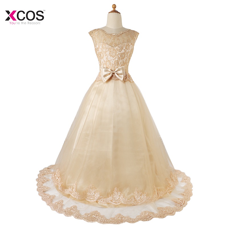 Sweet A Line Lace Bow Beading 2018   Flower     Girls     Dress   for Party And Wedding Communion   Dress   Pageant Ball Gown for   Girls