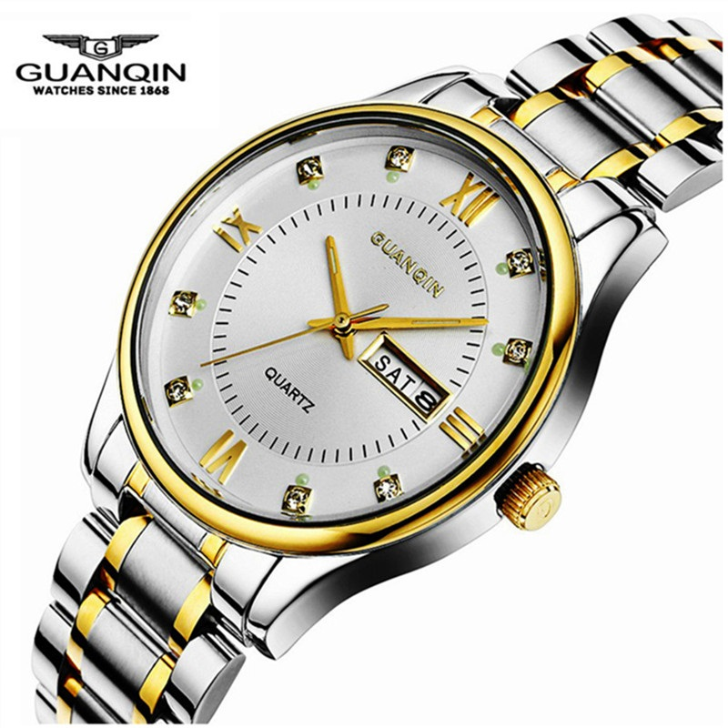 Original GUANQIN Men Quartz Watch Luxury Brand Waterproof Men Luminous Watches Male Clock Wristwatches Relogio Masculino Reloj original guanqin men watches luminous luxury mens quartz watch sport leather male watches sapphire clock relogio masculino reloj