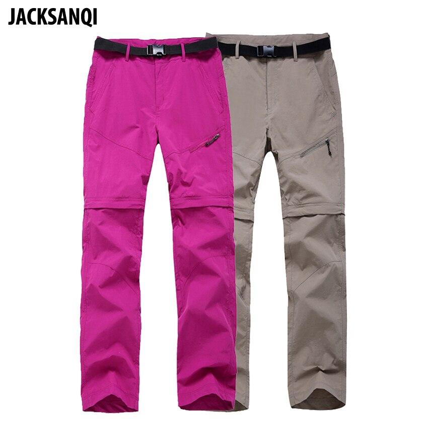 JACKSANQI Women Quick Dry Removable Pants Spring Summer Hiking Pants Brand Sport Outdoor Trouser Fishing Trekking Shorts RA067