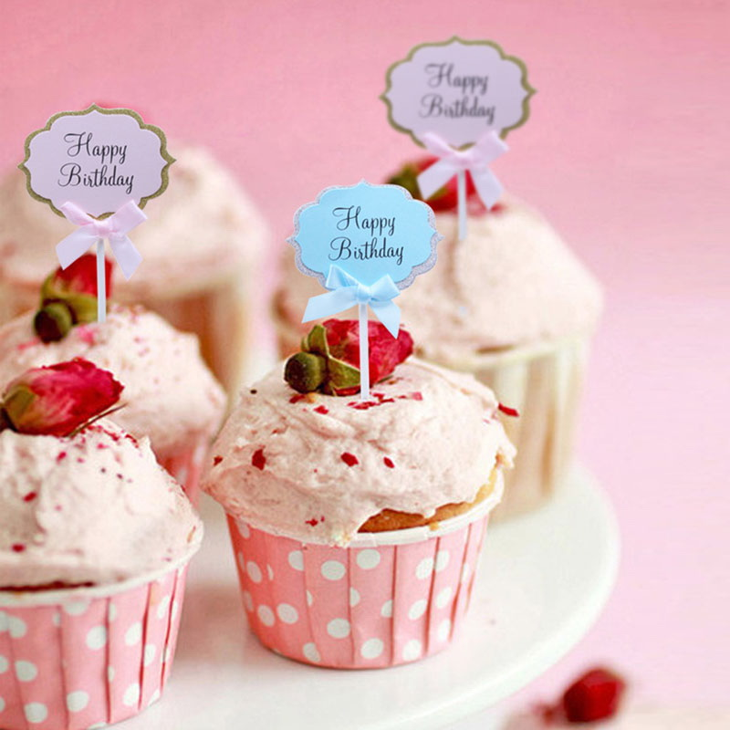 5pcs Happy Birthday Paper Card Cupcake Cake Baking Dessert