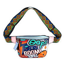 Women Graffiti Print Cute Fanny Pack Waist Belt Bag Bum Bag Chest Shoulder Backpack Satchel PU Leather