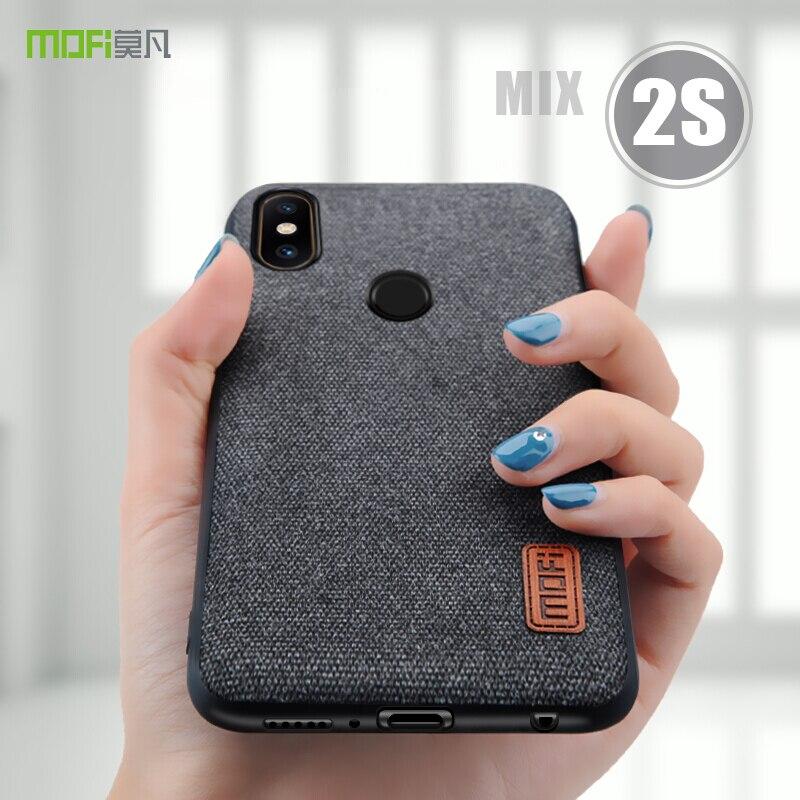 Mi de mélange 2 s cas couverture MOFI Pour Xiaomi Mi Mix 2 Retour tissus Cas D'affaires pour mi mix2s Doux Silicone bord Pleine Couverture Cas 5.99''