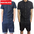Mens Jumpsuit Denim Overalls Short Sleeves Men Baggy Cargo Pants with Suspenders Denim Bib Overalls Shorts for Men MDB06