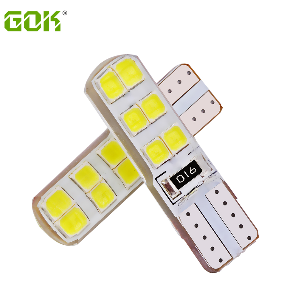 10Pcs/lot T10 led Car 194 168 LED W5W  Error Free t10 silicone 2835 LED T10 12SMD LED Marker License Clearance Light Universal itimo 10x t10 194 168 w5w 360 degree