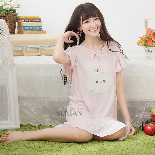 6b1c32a272dc Women cotton ruffles short sleeves nightdress