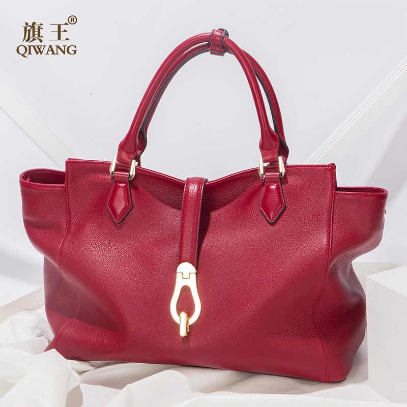 Qiwang Brand Handbag Women Large Bucket Shoulder Bag Female High Quality  Genuine leather tote Bag Fashion a69c7943d751d