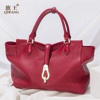 Qiwang сумки бренда Для женщин большое ведро сумка женская высокое качество натуральной кожи сумка модный топ ручкой