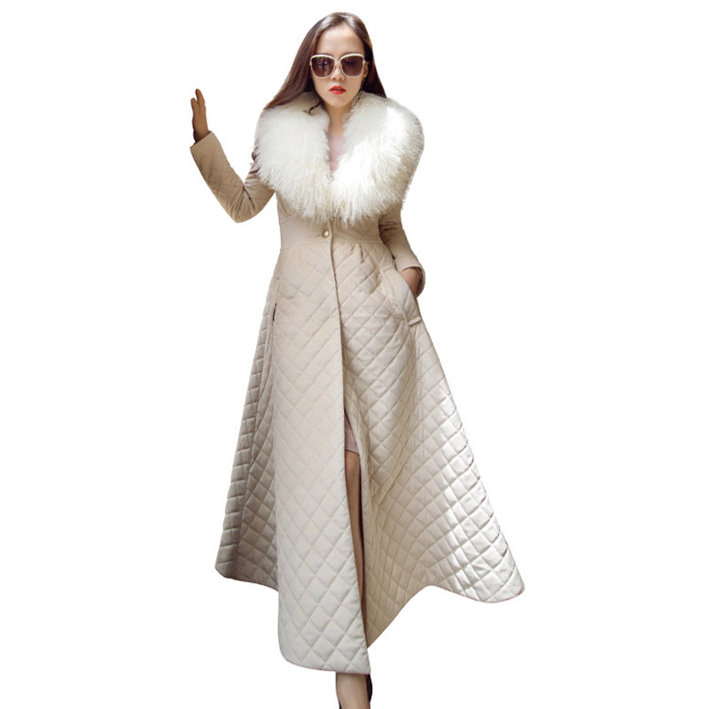 latest Winter warm ladies cotton-padded with long wool collar trim outside overskirt swing style windbreaker MF017