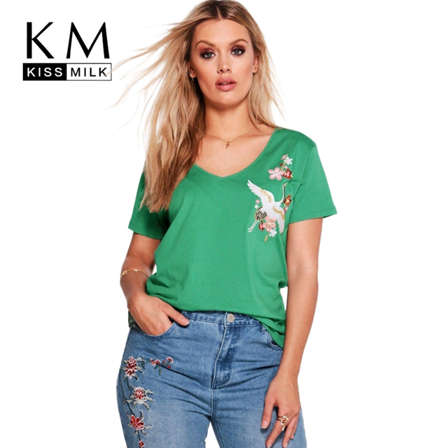 d6871196047 Kissmilk 2018 Plus Size Women Clothing Casual Pretty Embroidery Short  Sleeve T Shirt Brief V Neck