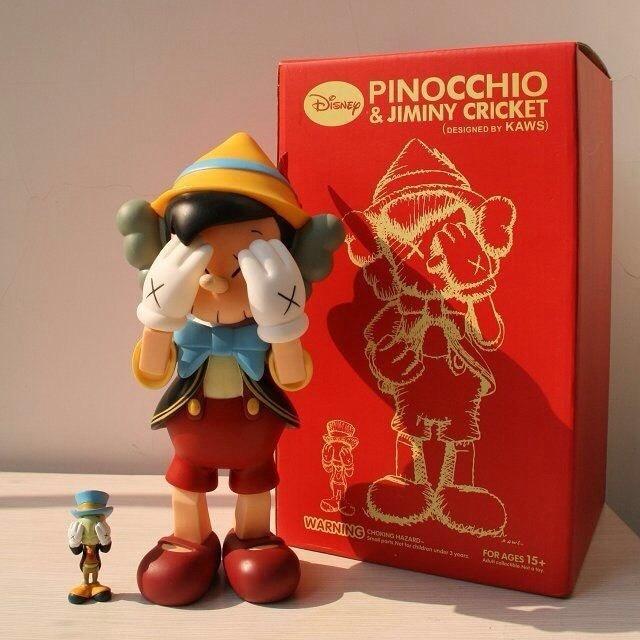 Hot Sell OriginaFake Kaws Companion Pinocchio&Jiminy Cricket Stand PVC Resin Anime Action Figures With Box hot selling 38cm originafake kaws companion astro boy high quality action collection