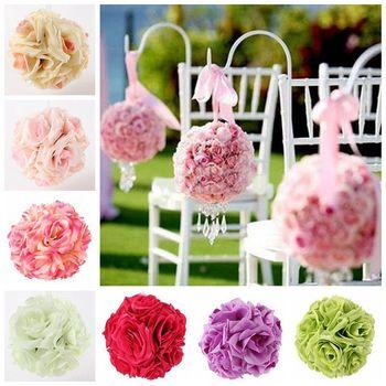 1 Pcs 20 cm Artificial Flor De Seda Rosa Bolas Beijando Pomander Buquê Peça Central Do Partido Peça Central Do Casamento decorações