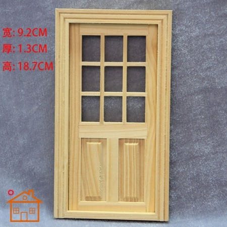 1 12 dollhouse door with window and frame for miniature exterior wood furniture doll home model. Black Bedroom Furniture Sets. Home Design Ideas