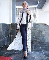 2018 Femmes Élégant Musulman Robe Noir Blanc Patchwork Cardigan Abaya Turc Robe Islamique Moyen-Orient Dubaï Marocain Caftan