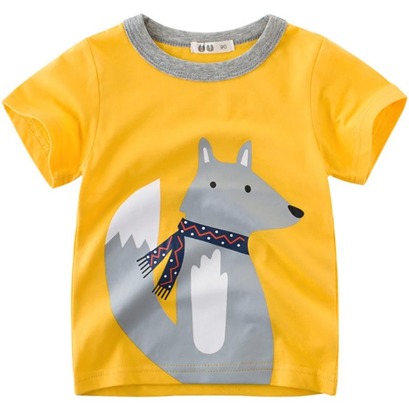 New Boys T-Shirts Cute Fun Fox Design Girls Tops Summer 2018 Kids Clothes 100% Cotton Children Short Sleeve Tshirt Baby T Shirt
