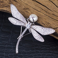 Charming Elegant Dragonfly Brooche gold plating AAA Cubic Zirconia Top Quality Fresh Water Pearl Jewelry
