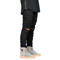 Fashion Men Knee Zipper Jeans Design Casual Stretch Destroyed Ripped Skinny Jeans For Men Y1029