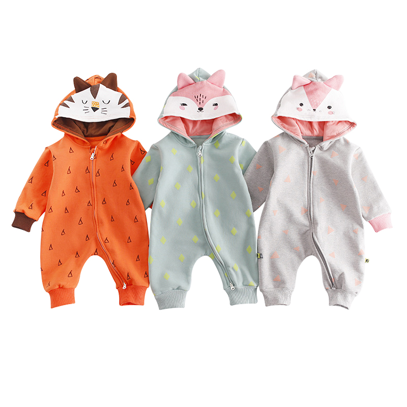 a8438db16e26 Autumn Toddler Cotton Hooded Baby Rompers Boys Girls Long Sleeve Cartoon  Animals Fox Infant Jumpsuit Winter Warm Baby Clothes Tags