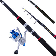 Battlesea Spinning Fishing Rod Combo 1.8-3.6m Telescopic Wheel Portable Travel