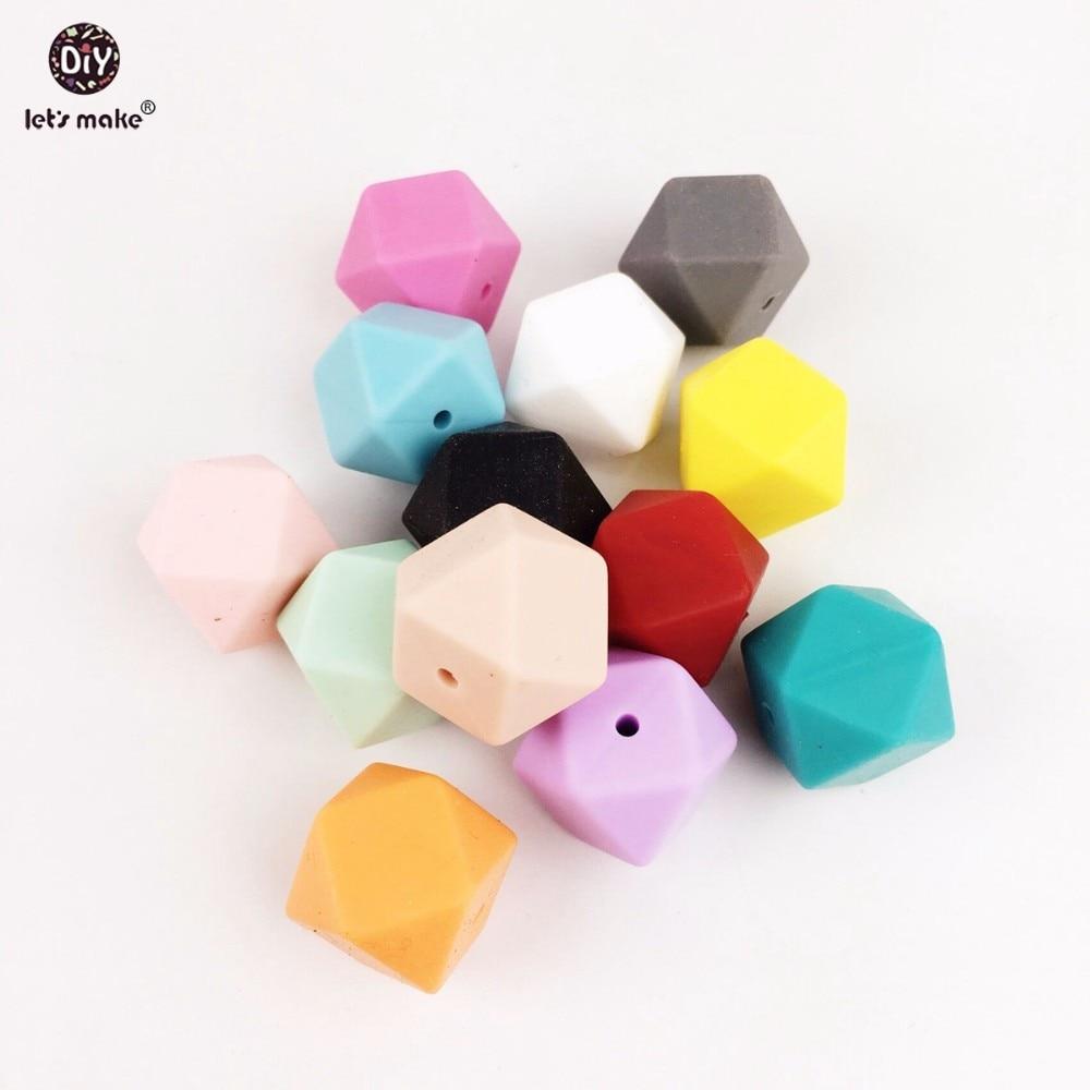 Prix pour Let's Faire 20 pc Grand 17mm Violet Géométrique/Hexagone Perles De Silicone Pour La Dentition Mix Couleurs, DIY Collier/Bracelet