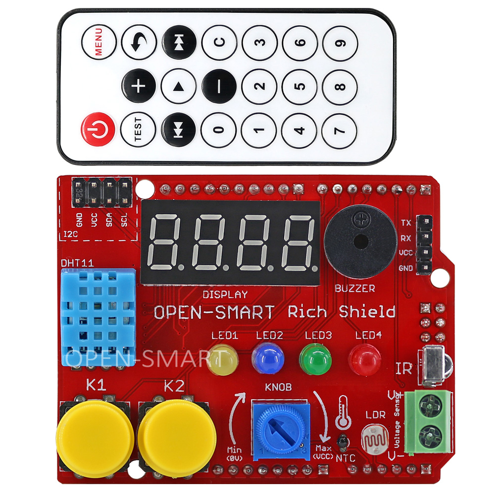 Rich Shield + IR Remote with Infrared Receiver LED Buzzer Button Light Sensor Temperature Sensor 24C02 EEPROM for Arduino UNO R3