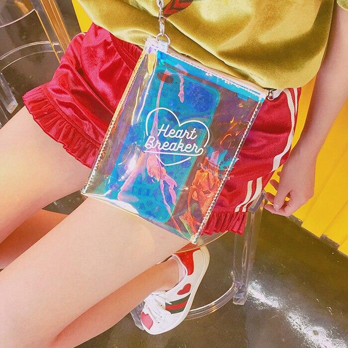 SchöN Sommer Lucency Frauen Umhängetasche Mode Herz Druck Kleine Hülle Tasche Laser Hologramm Mädchen Band Schulter Klar Handtasche Starke Verpackung Schultertaschen Damentaschen